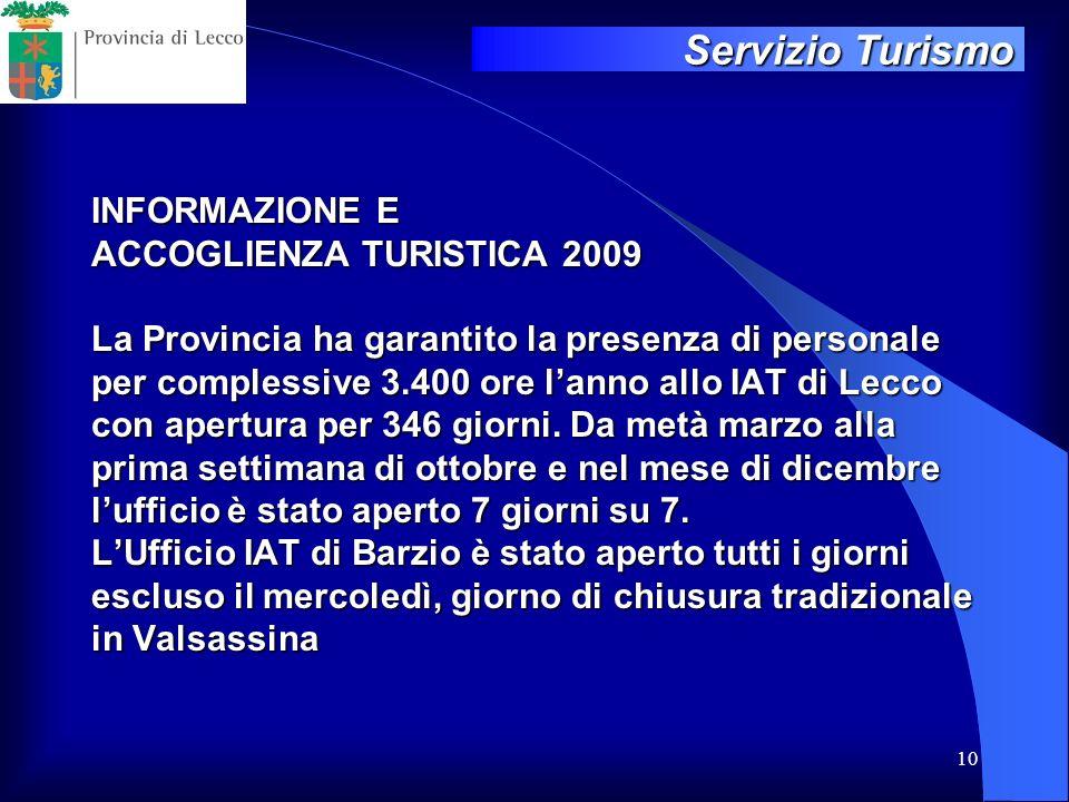 10 INFORMAZIONE E ACCOGLIENZA TURISTICA 2009 La Provincia ha garantito la presenza di personale per complessive 3.400 ore lanno allo IAT di Lecco con