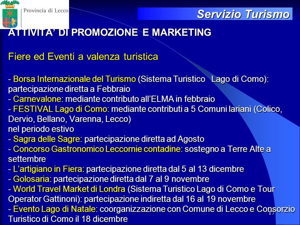 17 ATTIVITA DI PROMOZIONE E MARKETING Fiere ed Eventi a valenza turistica - Borsa Internazionale del Turismo (Sistema Turistico Lago di Como): parteci