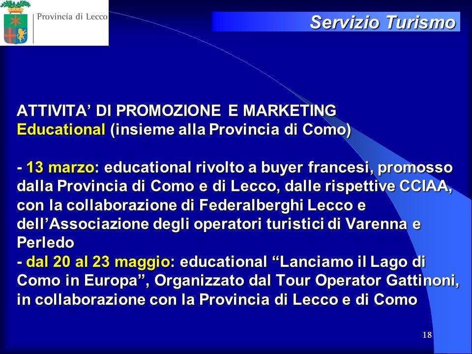 18 ATTIVITA DI PROMOZIONE E MARKETING Educational (insieme alla Provincia di Como) - 13 marzo: educational rivolto a buyer francesi, promosso dalla Pr