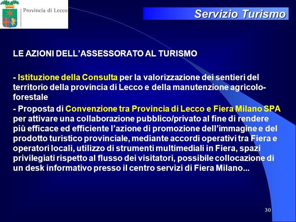 30 LE AZIONI DELLASSESSORATO AL TURISMO - Istituzione della Consulta per la valorizzazione dei sentieri del territorio della provincia di Lecco e dell