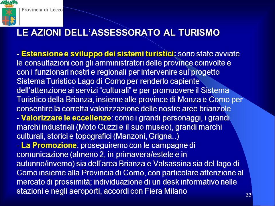 33 LE AZIONI DELLASSESSORATO AL TURISMO - Estensione e sviluppo dei sistemi turistici: LE AZIONI DELLASSESSORATO AL TURISMO - Estensione e sviluppo de