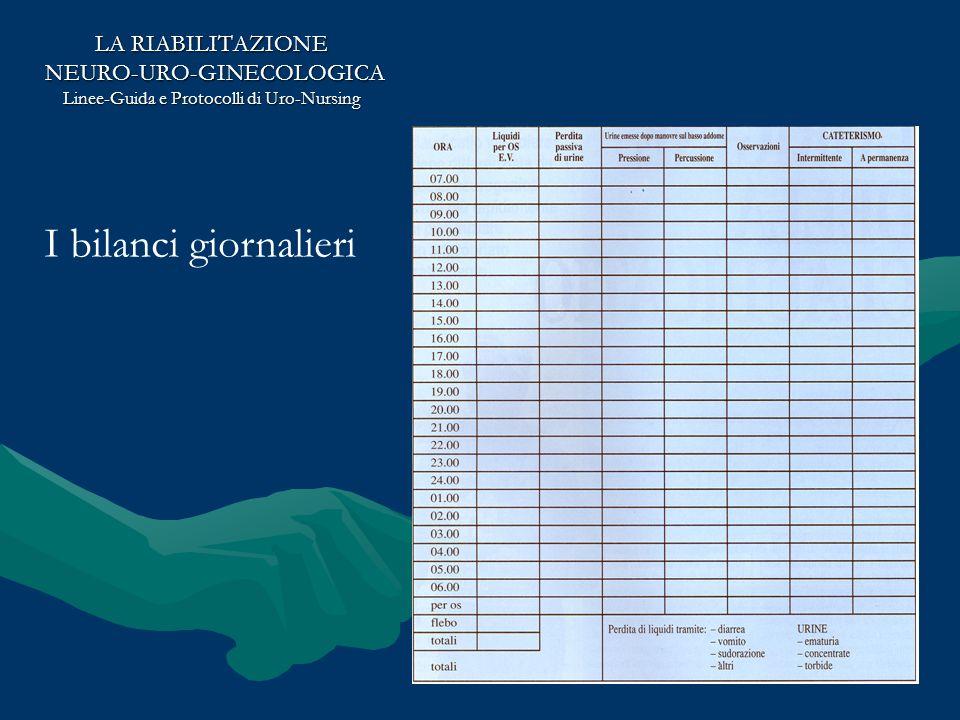 LA RIABILITAZIONE NEURO-URO-GINECOLOGICA NEURO-URO-GINECOLOGICA Linee-Guida e Protocolli di Uro-Nursing I bilanci giornalieri