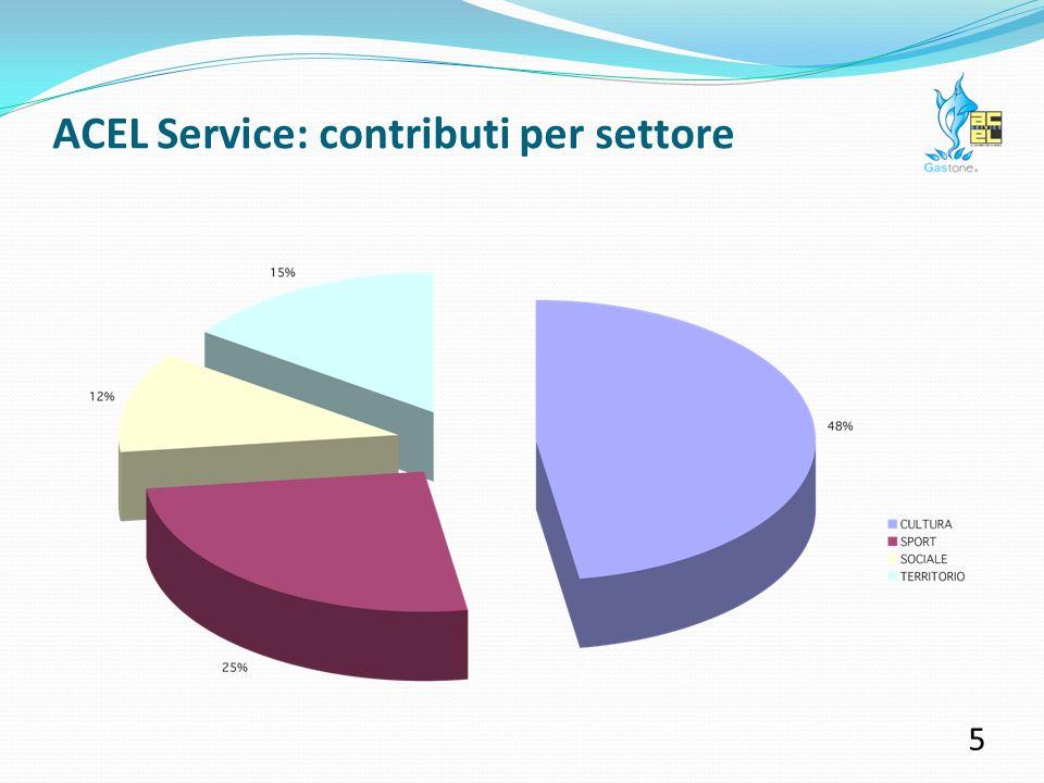 ACEL Service: contributi per settore 4 Quasi metà delle risorse sono state investite in iniziative di valore culturale: concerti, mostre, rassegne musicali e cinematografiche, spettacoli teatrali, libri e pubblicazioni.