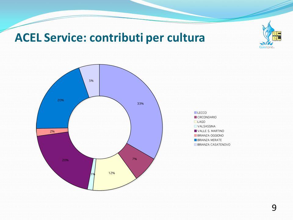 ACEL Service: contributi per cultura 8 Comunicare il territorio attraverso la voce di chi lo vive: sostenere iniziative culturali significa valorizzare le tradizioni dei luoghi e la loro storia, ma anche promuovere le esperienze deccellenza che prendono vita al suo interno.