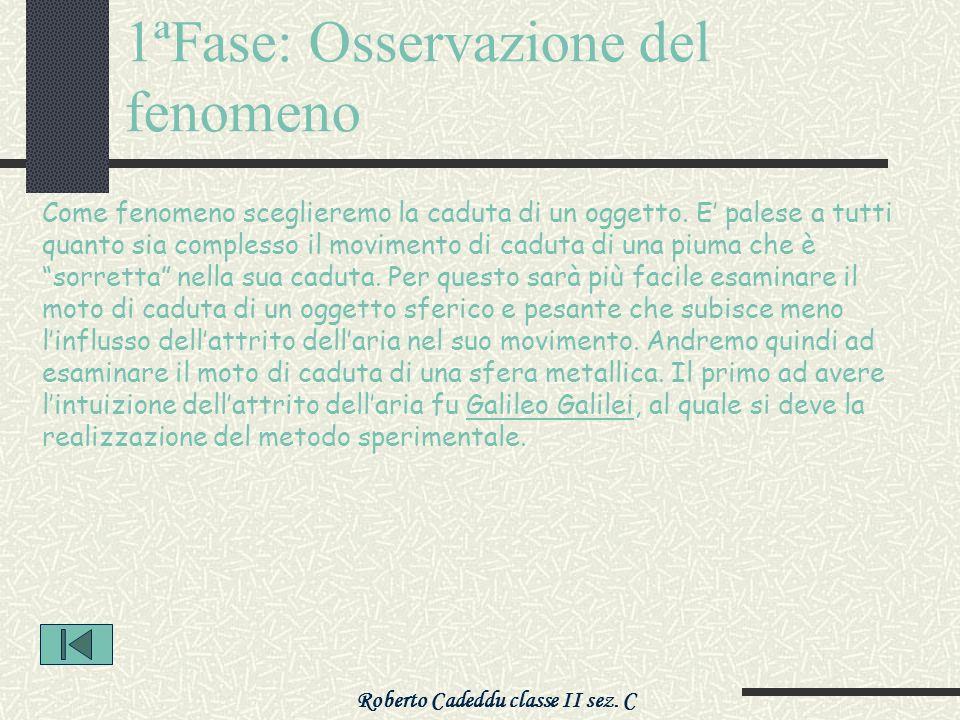 Roberto Cadeddu classe II sez. C 1ªFase: Osservazione del fenomeno Come fenomeno sceglieremo la caduta di un oggetto. E palese a tutti quanto sia comp