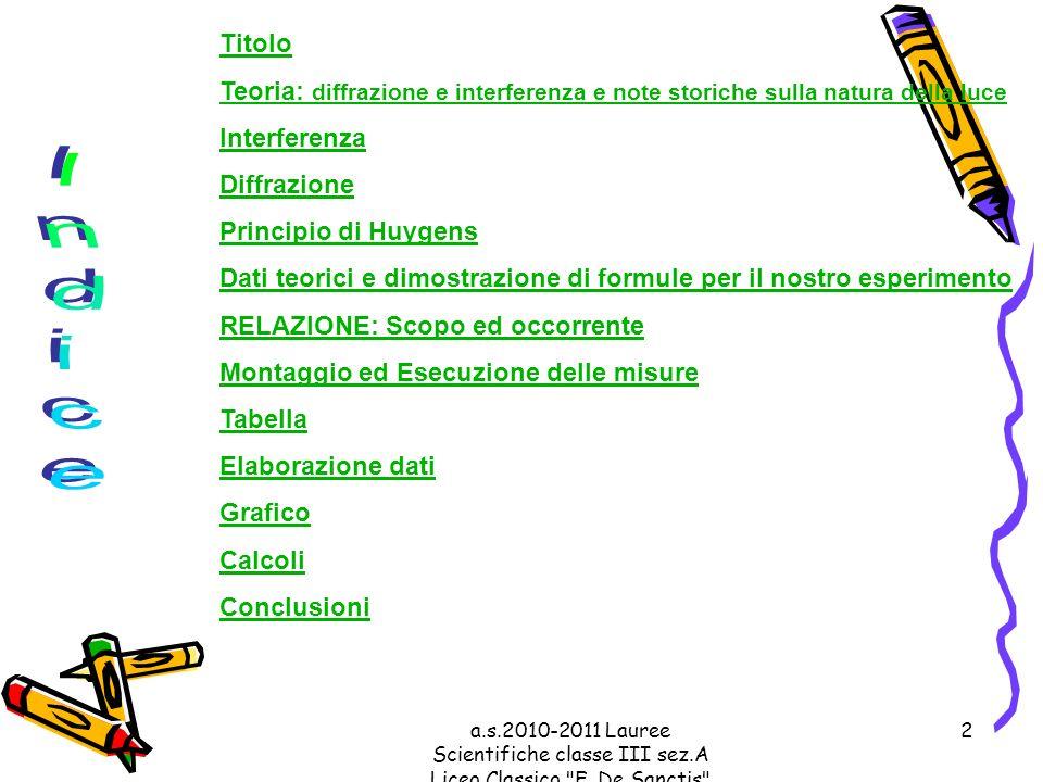a.s.2010-2011 Lauree Scientifiche classe III sez.A Liceo Classico