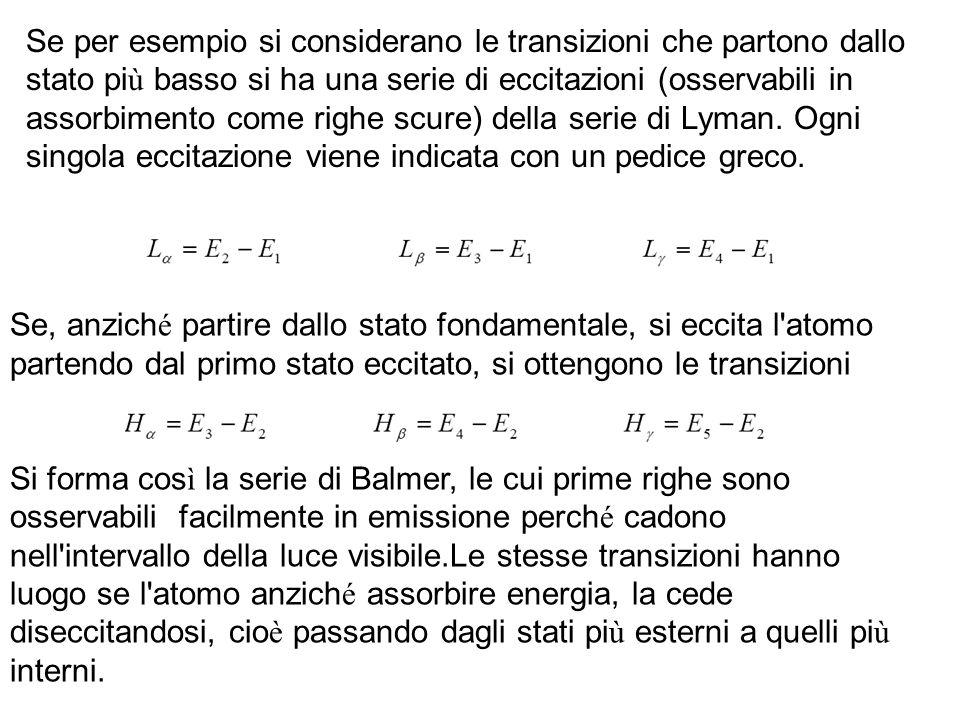 Se per esempio si considerano le transizioni che partono dallo stato pi ù basso si ha una serie di eccitazioni (osservabili in assorbimento come righe scure) della serie di Lyman.