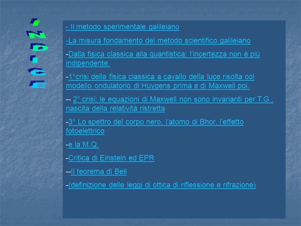 1 - Il metodo sperimentale galileiano -La misura fondamento del metodo scientifico galileiano -Dalla fisica classica alla quantistica: lincertezza non