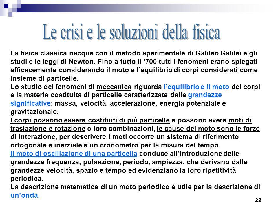 22 La fisica classica nacque con il metodo sperimentale di Galileo Galilei e gli studi e le leggi di Newton. Fino a tutto il 700 tutti i fenomeni eran