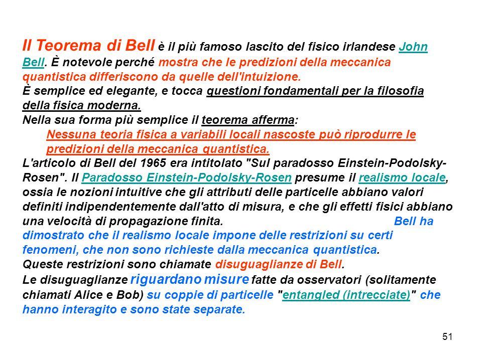 51 Il Teorema di Bell è il più famoso lascito del fisico irlandese John Bell. È notevole perché mostra che le predizioni della meccanica quantistica d