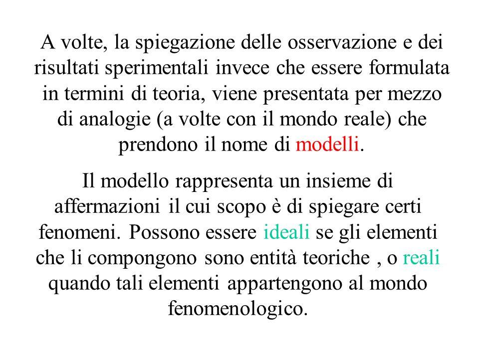 A volte, la spiegazione delle osservazione e dei risultati sperimentali invece che essere formulata in termini di teoria, viene presentata per mezzo d
