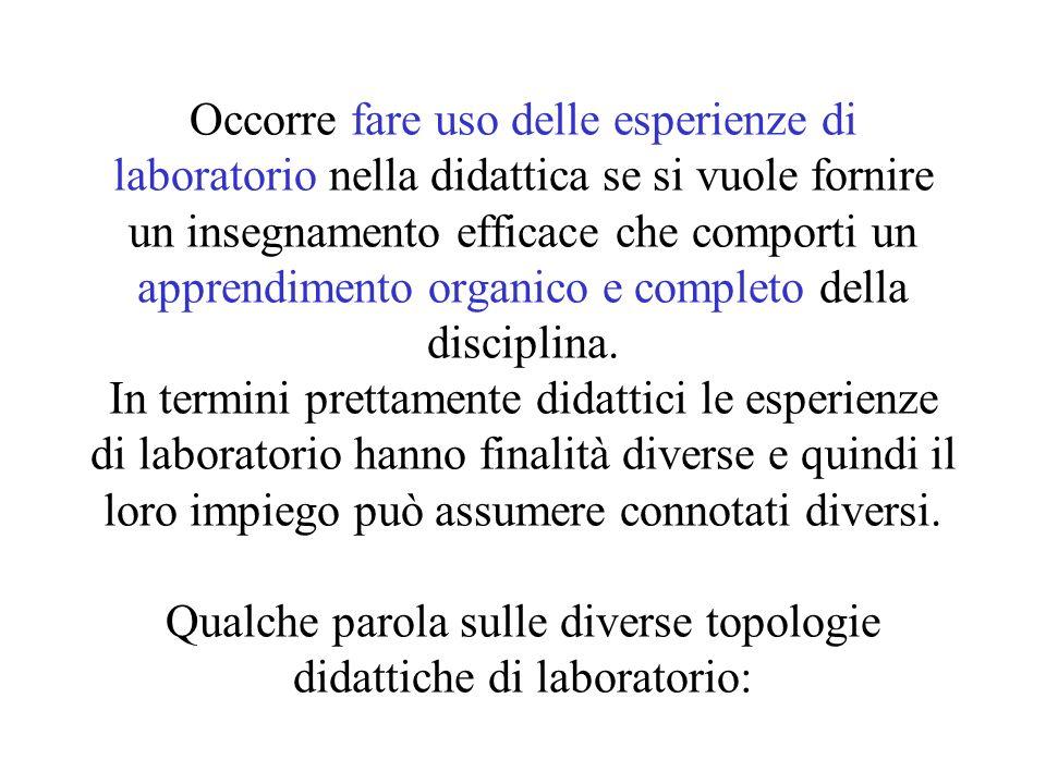 Occorre fare uso delle esperienze di laboratorio nella didattica se si vuole fornire un insegnamento efficace che comporti un apprendimento organico e
