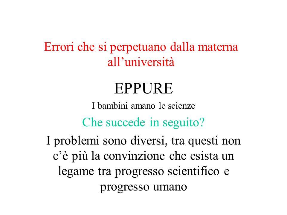 Errori che si perpetuano dalla materna alluniversità EPPURE I bambini amano le scienze Che succede in seguito? I problemi sono diversi, tra questi non