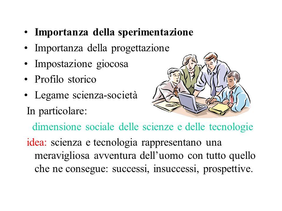 Importanza della sperimentazione Importanza della progettazione Impostazione giocosa Profilo storico Legame scienza-società In particolare: dimensione