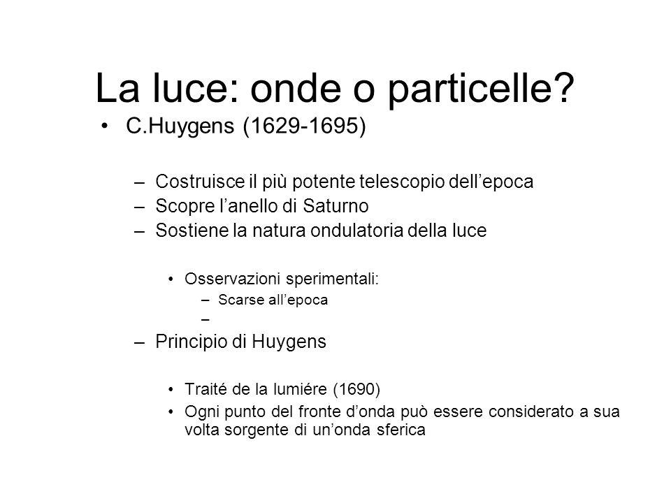 La luce: onde o particelle? C.Huygens (1629-1695) –Costruisce il più potente telescopio dellepoca –Scopre lanello di Saturno –Sostiene la natura ondul