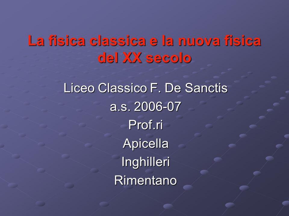 La fisica classica e la nuova fisica del XX secolo Liceo Classico F. De Sanctis a.s. 2006-07 Prof.riApicellaInghilleriRimentano