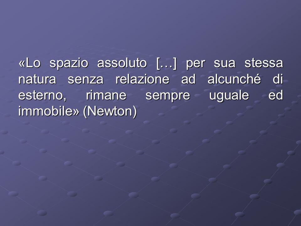 «Lo spazio assoluto […] per sua stessa natura senza relazione ad alcunché di esterno, rimane sempre uguale ed immobile» (Newton)