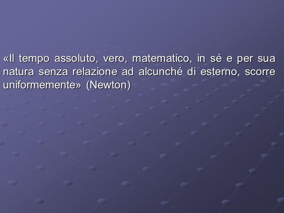 «Il tempo assoluto, vero, matematico, in sé e per sua natura senza relazione ad alcunché di esterno, scorre uniformemente» (Newton)