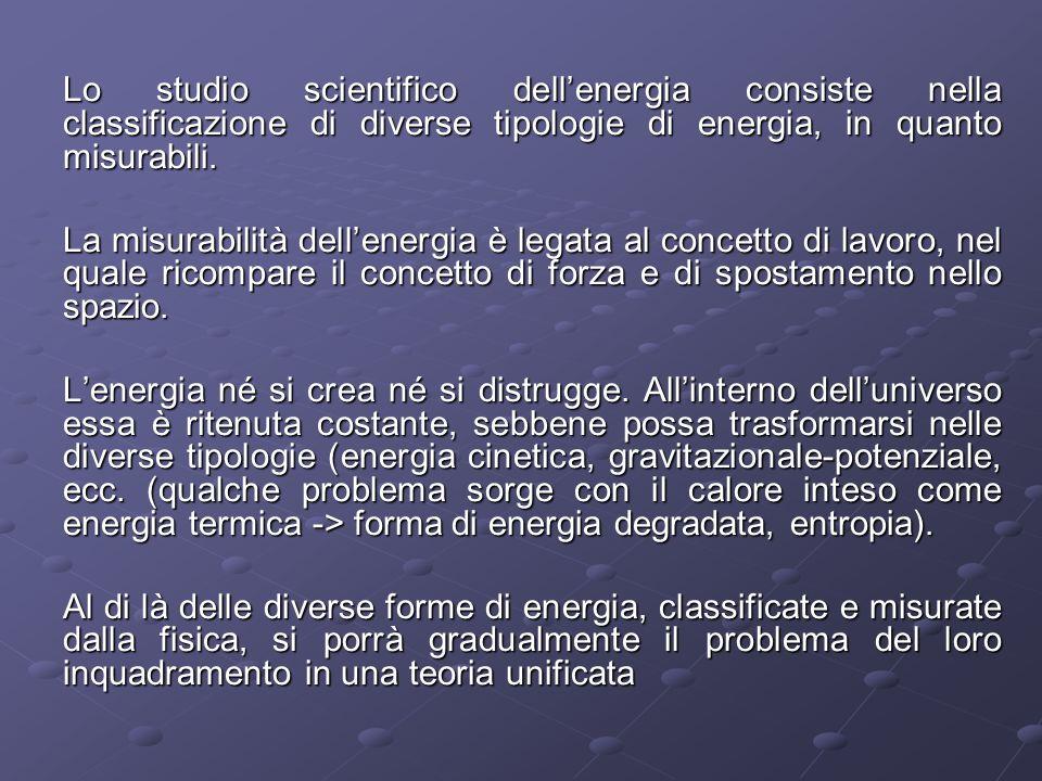 Lo studio scientifico dellenergia consiste nella classificazione di diverse tipologie di energia, in quanto misurabili. La misurabilità dellenergia è