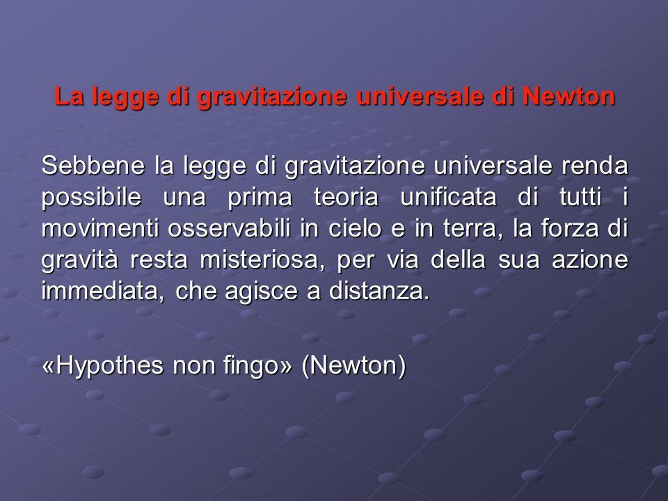 La legge di gravitazione universale di Newton Sebbene la legge di gravitazione universale renda possibile una prima teoria unificata di tutti i movime