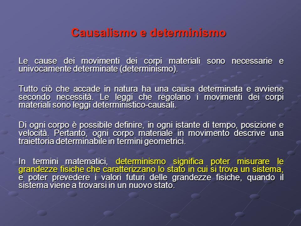 Causalismo e determinismo Le cause dei movimenti dei corpi materiali sono necessarie e univocamente determinate (determinismo). Tutto ciò che accade i