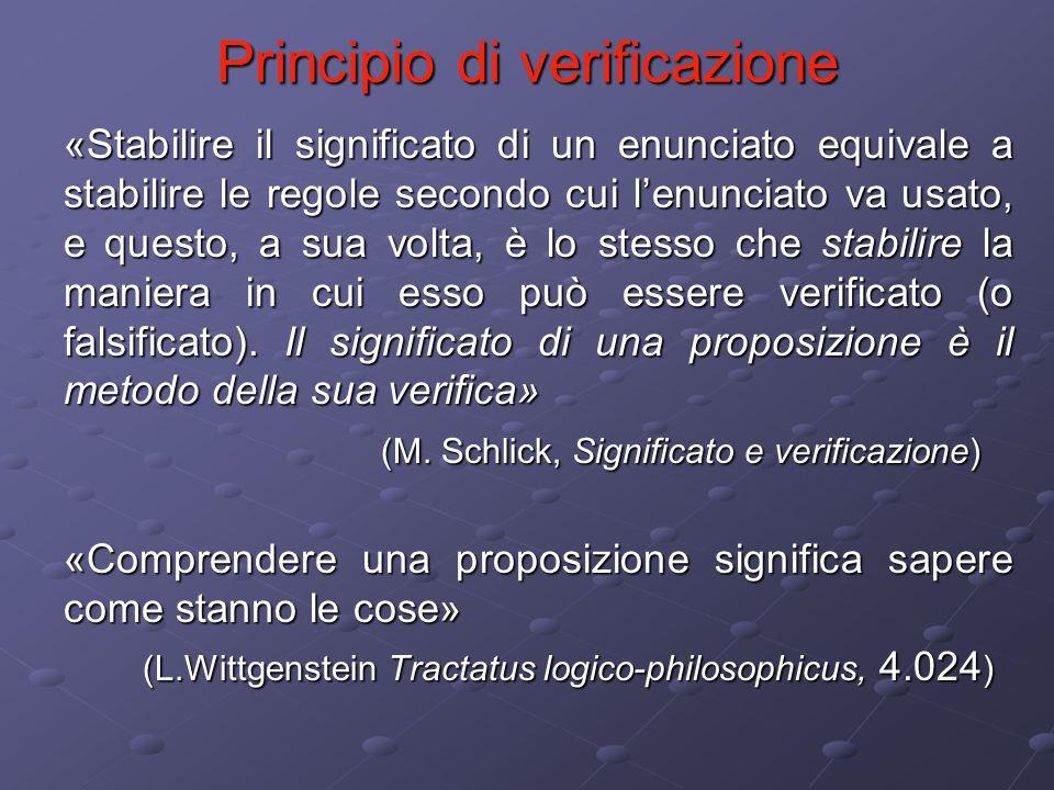 Principio di verificazione «Stabilire il significato di un enunciato equivale a stabilire le regole secondo cui lenunciato va usato, e questo, a sua v