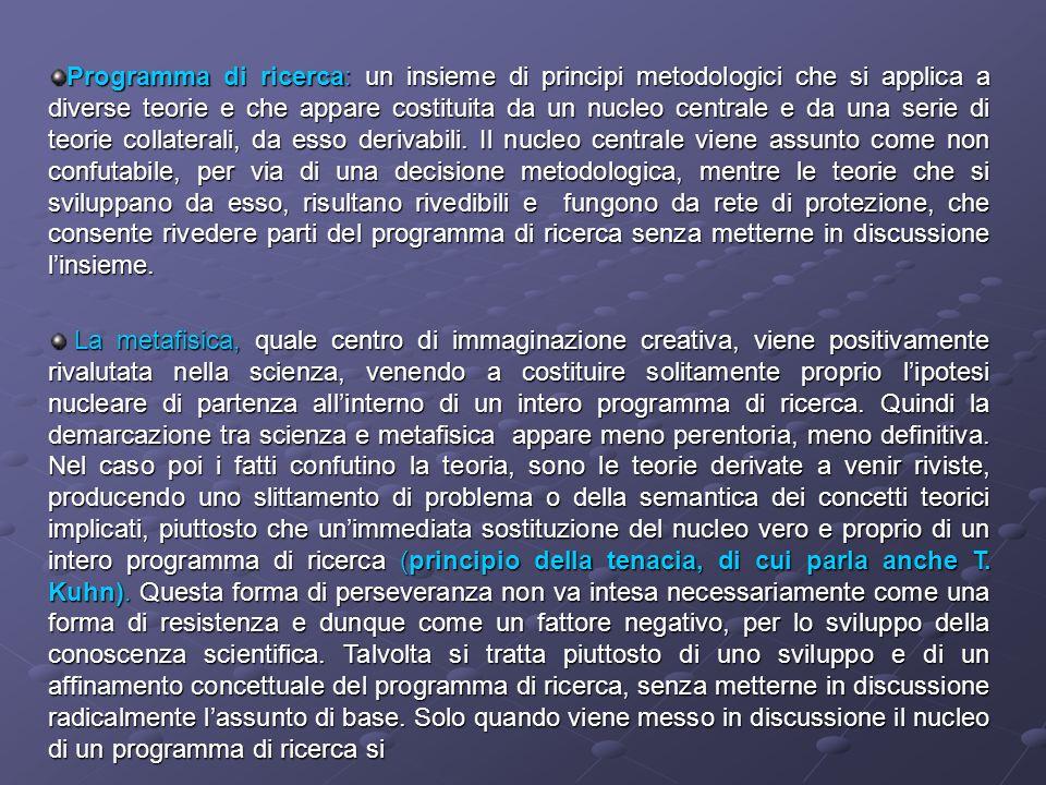 Programma di ricerca: un insieme di principi metodologici che si applica a diverse teorie e che appare costituita da un nucleo centrale e da una serie
