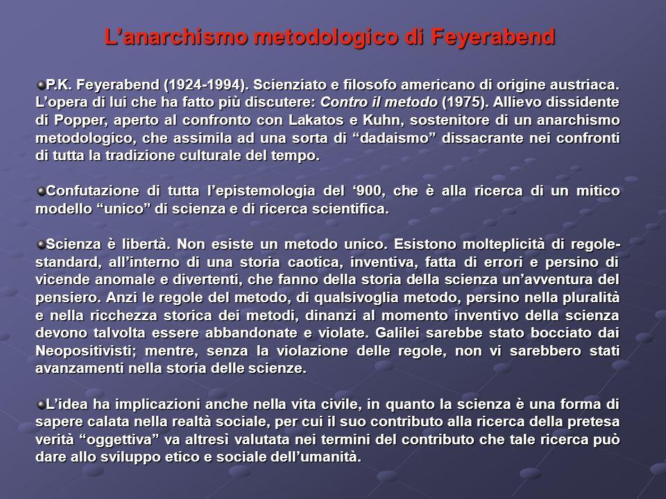 P.K. Feyerabend (1924-1994). Scienziato e filosofo americano di origine austriaca. Lopera di lui che ha fatto più discutere: Contro il metodo (1975).