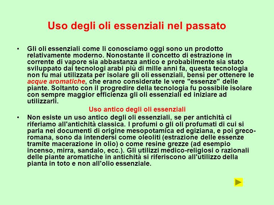 Uso degli oli essenziali nel passato Gli oli essenziali come li conosciamo oggi sono un prodotto relativamente moderno. Nonostante il concetto di estr