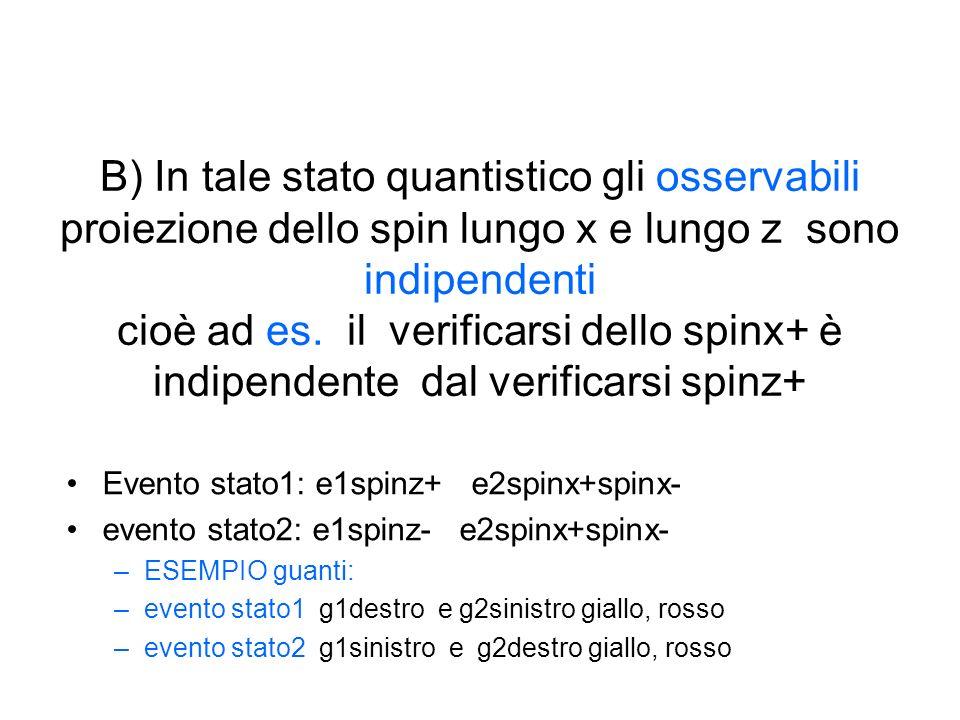 B) In tale stato quantistico gli osservabili proiezione dello spin lungo x e lungo z sono indipendenti cioè ad es.