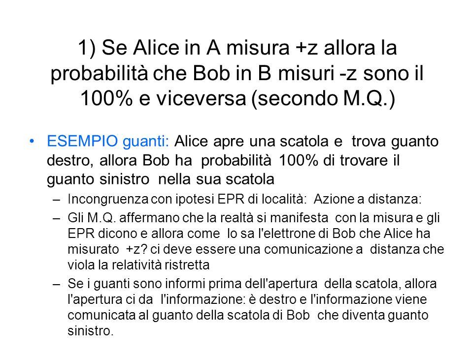 1) Se Alice in A misura +z allora la probabilità che Bob in B misuri -z sono il 100% e viceversa (secondo M.Q.) ESEMPIO guanti: Alice apre una scatola e trova guanto destro, allora Bob ha probabilità 100% di trovare il guanto sinistro nella sua scatola –Incongruenza con ipotesi EPR di località: Azione a distanza: –Gli M.Q.