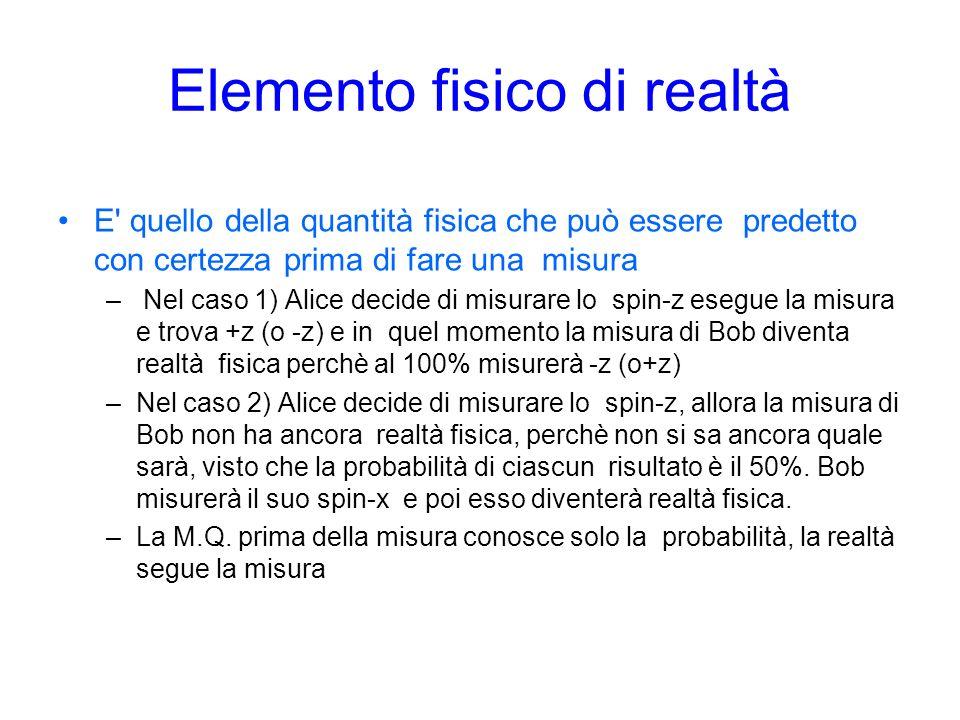 Elemento fisico di realtà E quello della quantità fisica che può essere predetto con certezza prima di fare una misura – Nel caso 1) Alice decide di misurare lo spin-z esegue la misura e trova +z (o -z) e in quel momento la misura di Bob diventa realtà fisica perchè al 100% misurerà -z (o+z) –Nel caso 2) Alice decide di misurare lo spin-z, allora la misura di Bob non ha ancora realtà fisica, perchè non si sa ancora quale sarà, visto che la probabilità di ciascun risultato è il 50%.