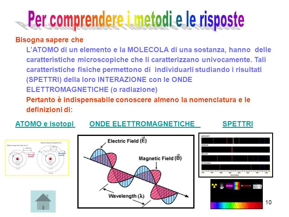 10 Bisogna sapere che LATOMO di un elemento e la MOLECOLA di una sostanza, hanno delle caratteristiche microscopiche che li caratterizzano univocament