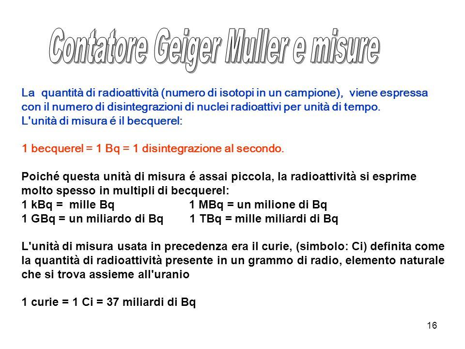16 La quantità di radioattività (numero di isotopi in un campione), viene espressa con il numero di disintegrazioni di nuclei radioattivi per unità di