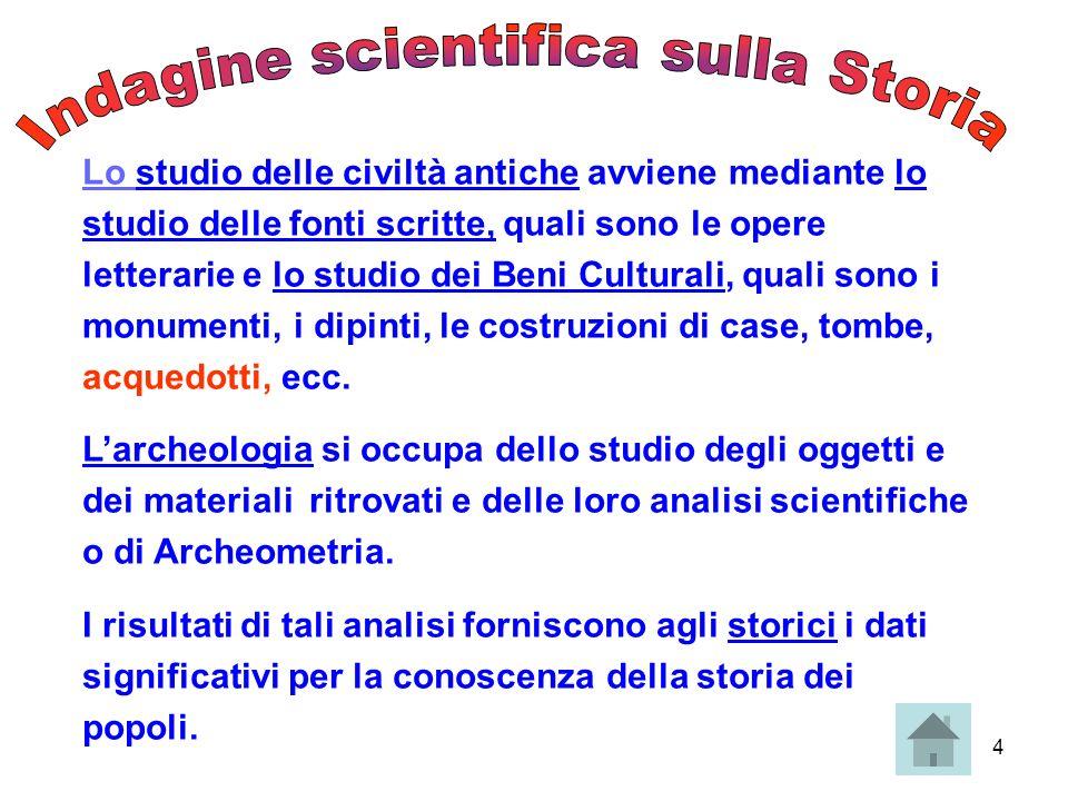 4 Lo studio delle civiltà antiche avviene mediante lo studio delle fonti scritte, quali sono le opere letterarie e lo studio dei Beni Culturali, quali