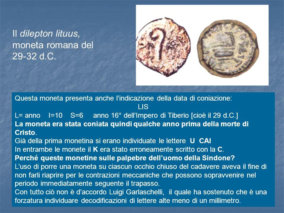 Il dilepton lituus, moneta romana del 29-32 d.C. Questa moneta presenta anche lindicazione della data di coniazione: LIS L= anno I=10 S=6 anno 16° del