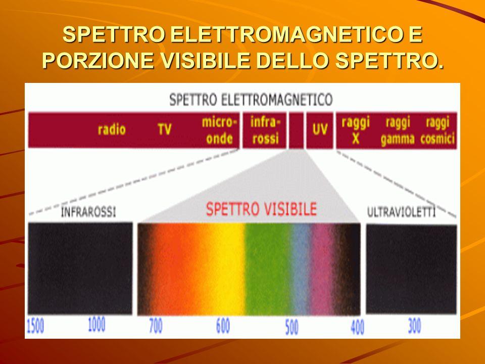 SPETTRO ELETTROMAGNETICO E PORZIONE VISIBILE DELLO SPETTRO.