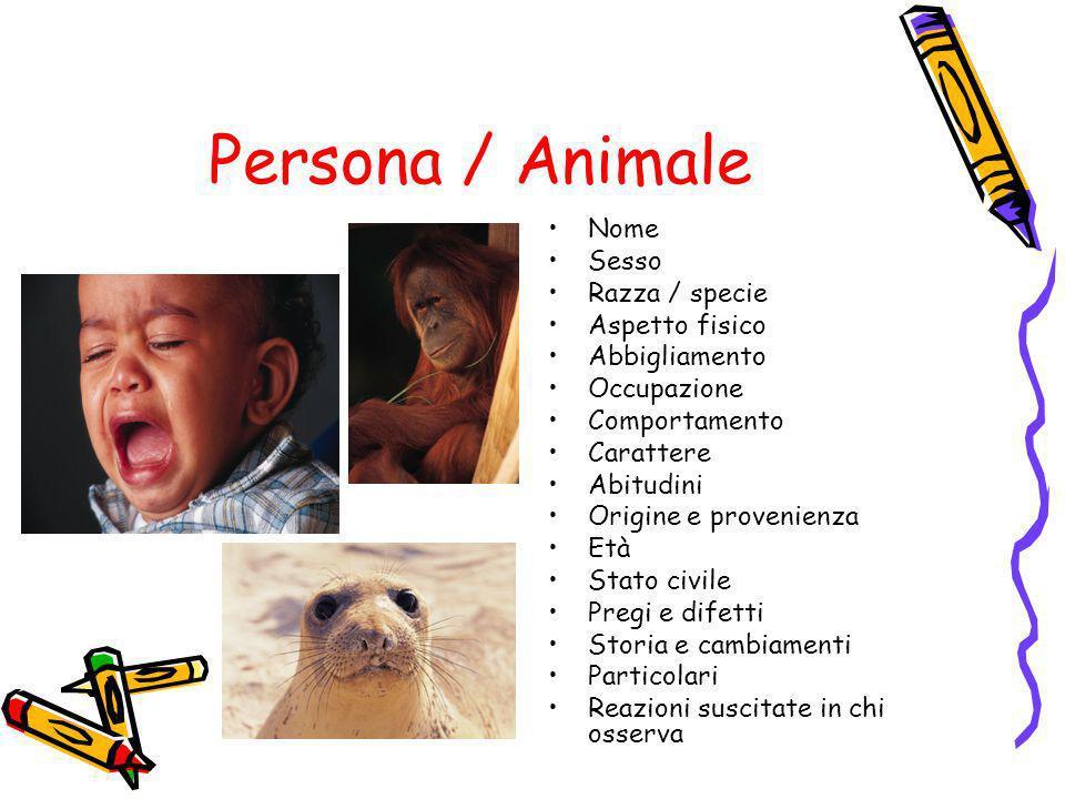 Persona / Animale Nome Sesso Razza / specie Aspetto fisico Abbigliamento Occupazione Comportamento Carattere Abitudini Origine e provenienza Età Stato