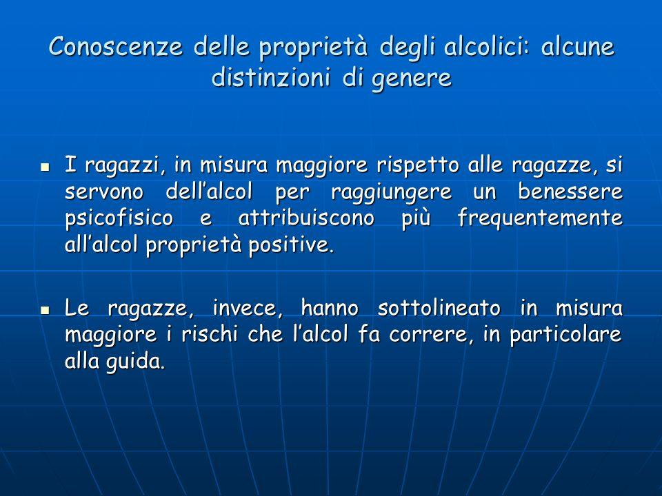 Conoscenze delle proprietà degli alcolici: alcune distinzioni di genere I ragazzi, in misura maggiore rispetto alle ragazze, si servono dellalcol per raggiungere un benessere psicofisico e attribuiscono più frequentemente allalcol proprietà positive.