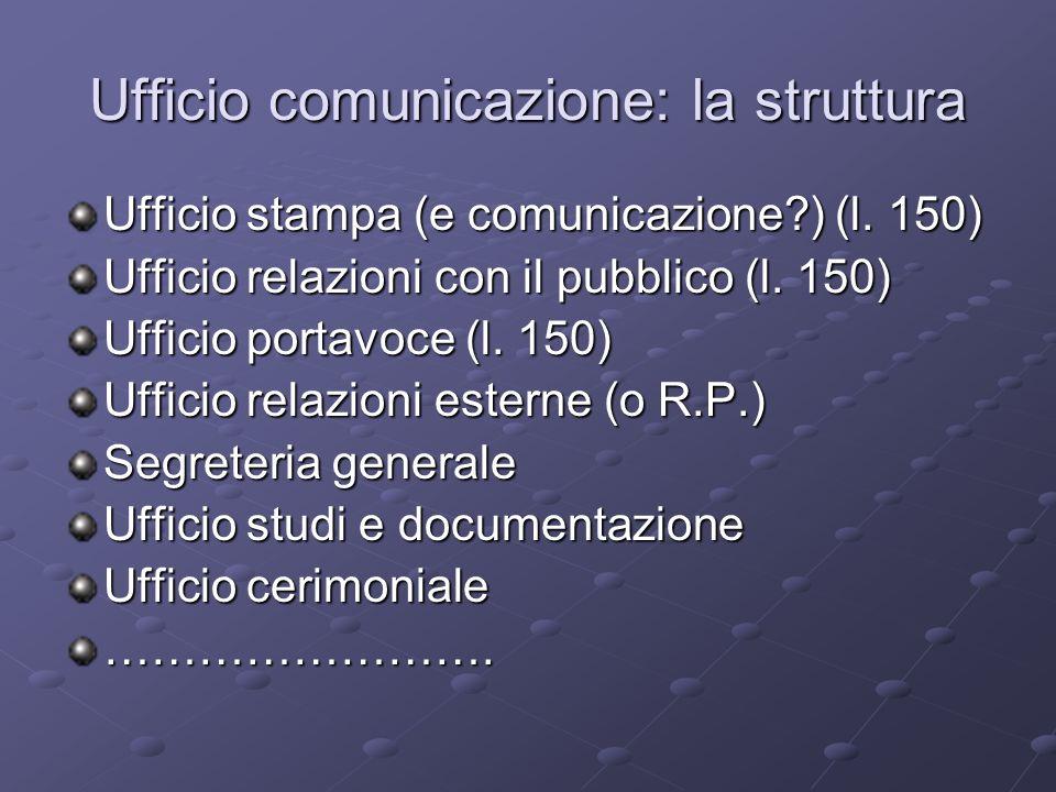 Ufficio comunicazione: la struttura Ufficio stampa (e comunicazione?) (l.