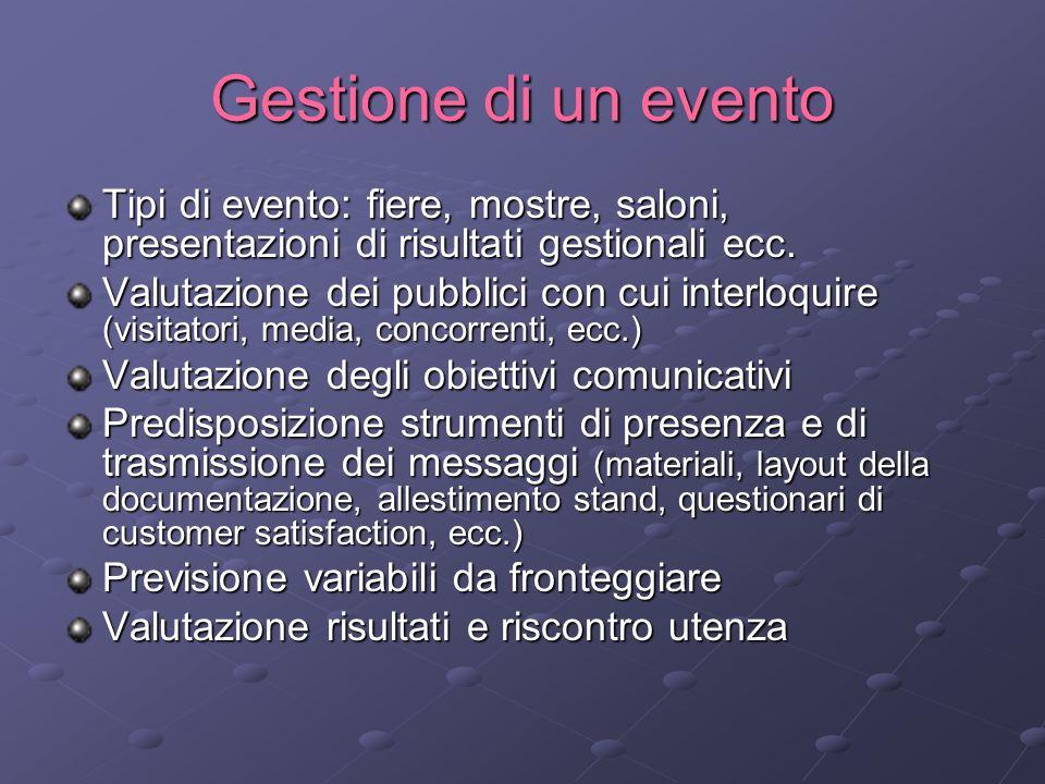 Gestione di un evento Tipi di evento: fiere, mostre, saloni, presentazioni di risultati gestionali ecc.