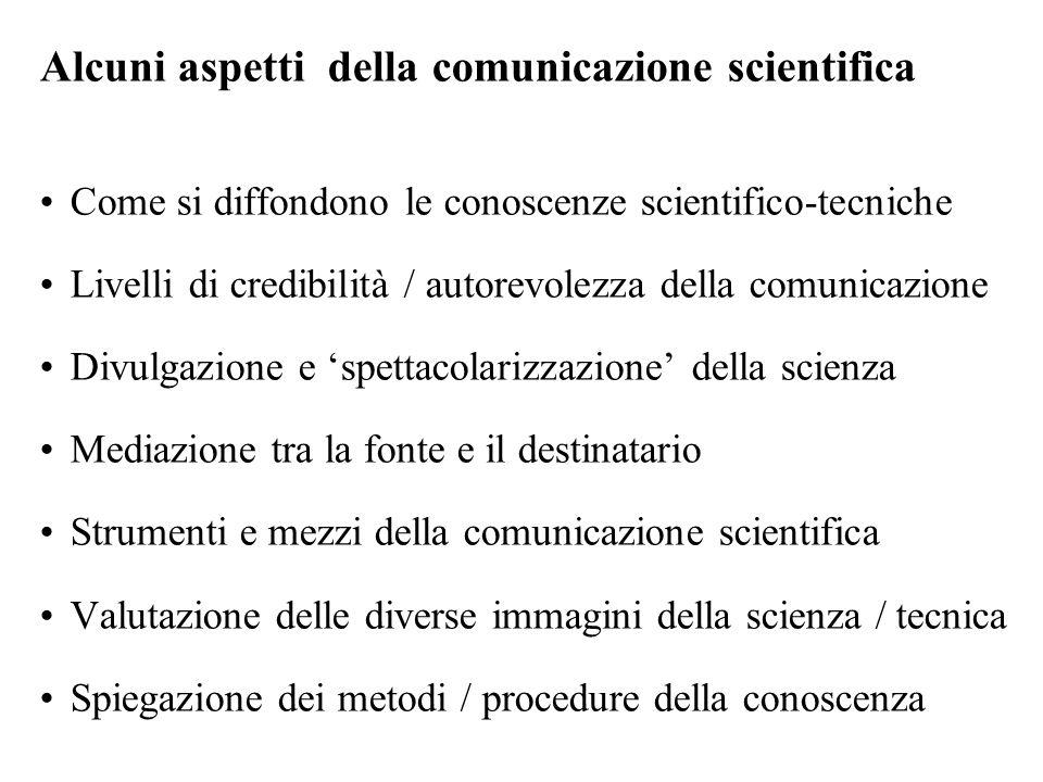 Alcuni aspetti della comunicazione scientifica Come si diffondono le conoscenze scientifico-tecniche Livelli di credibilità / autorevolezza della comu