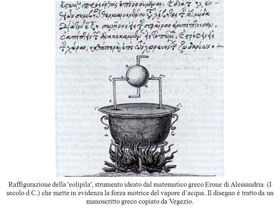 Raffigurazione della 'eolipila', strumento ideato dal matematico greco Erone di Alessandria (I secolo d.C.) che mette in evidenza la forza motrice del
