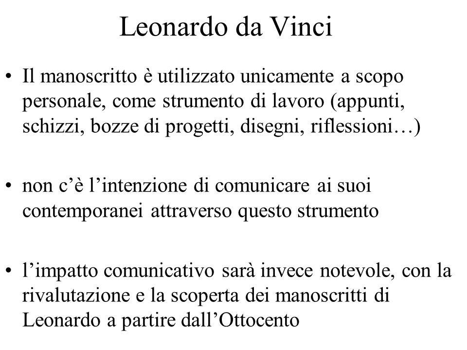 Leonardo da Vinci Il manoscritto è utilizzato unicamente a scopo personale, come strumento di lavoro (appunti, schizzi, bozze di progetti, disegni, ri