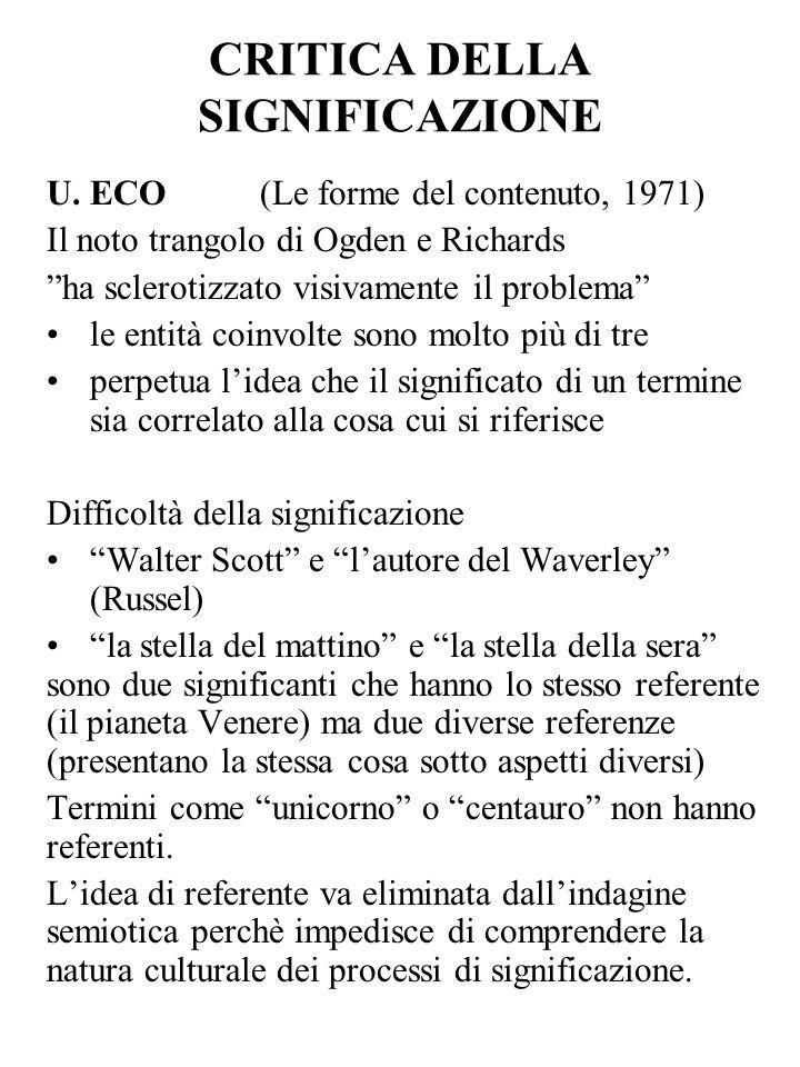 CRITICA DELLA SIGNIFICAZIONE U. ECO (Le forme del contenuto, 1971) Il noto trangolo di Ogden e Richards ha sclerotizzato visivamente il problema le en