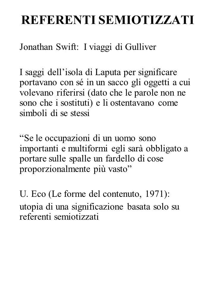 REFERENTI SEMIOTIZZATI Jonathan Swift: I viaggi di Gulliver I saggi dellisola di Laputa per significare portavano con sé in un sacco gli oggetti a cui
