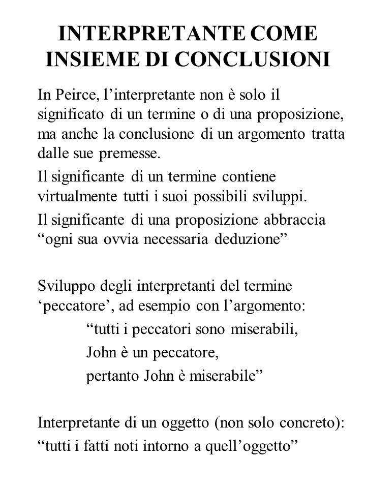 INTERPRETANTE COME INSIEME DI CONCLUSIONI In Peirce, linterpretante non è solo il significato di un termine o di una proposizione, ma anche la conclus