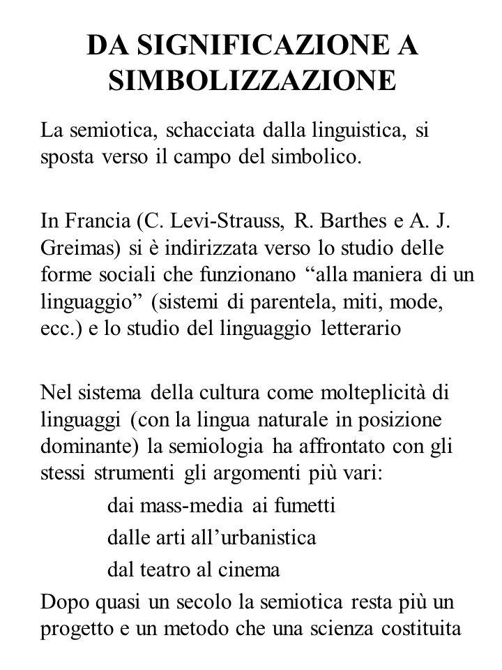 DA SIGNIFICAZIONE A SIMBOLIZZAZIONE La semiotica, schacciata dalla linguistica, si sposta verso il campo del simbolico. In Francia (C. Levi-Strauss, R