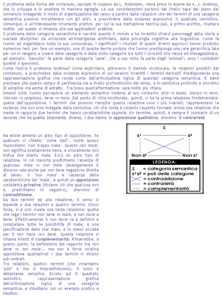 Il problema della forma del contenuto, lasciato in sospeso da L. Hjelmslev, viene preso in esame da A. J. Greimas, che lo sviluppa e lo analizza in ma