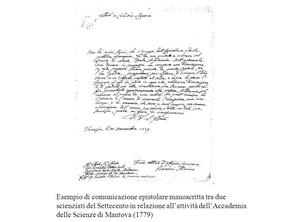 Esempio di comunicazione epistolare manoscritta tra due scienziati del Settecento in relazione allattività dellAccademia delle Scienze di Mantova (177